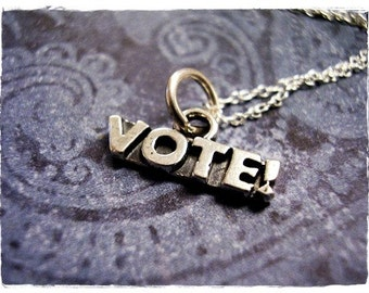 Tiny Vote Necklace - Sterling Silver Vote Charm on a Delicate Sterling Silver Cable Chain or Charm Only