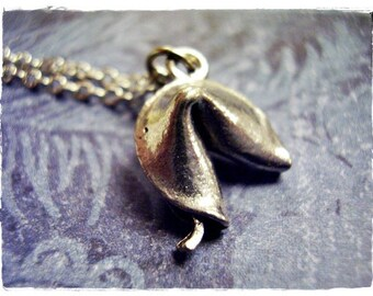 Silver Fortune Cookie Necklace - Antique Pewter Fortune Cookie Charm on a Delicate Silver Plated Cable Chain or Charm Only
