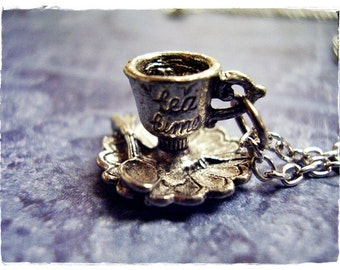 Silver Tea Cup and Saucer Necklace - Antique Pewter Tea Cup and Saucer Charm on a Delicate Silver Plated Cable Chain or Charm Only
