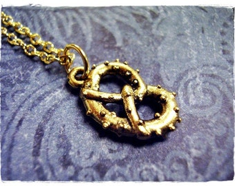 Gold Salted Pretzel Necklace - Antique Gold Pewter Pretzel Charm on a Delicate Gold Plated Cable Chain or Charm Only