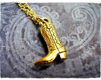 Gold Cowboy Boot Necklace - Antique Gold Pewter Cowboy Boot Charm on a Delicate Gold Plated Cable Chain or Charm Only