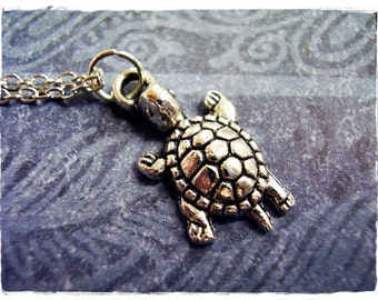 Silver Baby Turtle Necklace - Antique Pewter Baby Turtle Charm on a Delicate Silver Plated Cable Chain or Charm Only