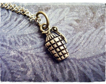 Tiny Grenade Necklace - Antique Pewter Grenade Charm on a Delicate Silver Plated Cable Chain or Charm Only