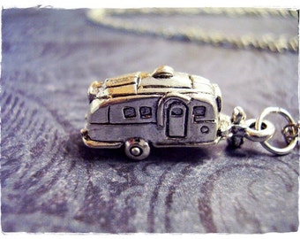 Silver RV Camper Necklace - Silver Pewter RV Camper Charm on a Delicate Silver Plated Cable Chain or Charm Only