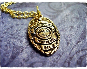 Gold Police Badge Necklace - Antique Gold Pewter Police Badge Charm on a Delicate Gold Plated Cable Chain or Charm Only