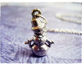 Silver Snowman Necklace - Antique Pewter Snowman Charm on a Delicate Silver Plated Cable Chain or Charm Only