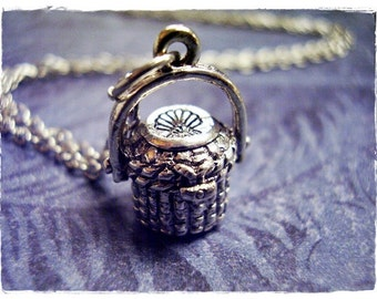 Silver Picnic Basket Necklace - Silver Pewter Picnic Basket Charm on a Delicate Silver Plated Cable Chain or Charm Only