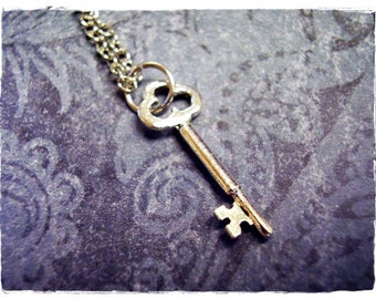 Tiny Silver Trefoil Key Necklace - Silver Pewter Trefoil Key Charm on a Delicate Silver Plated Cable Chain or Charm Only