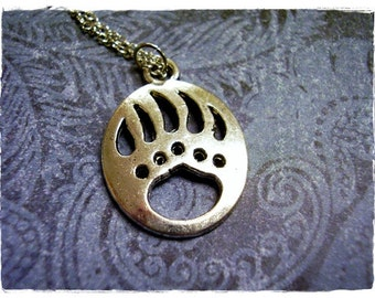 Large Bear Paw Necklace - Antique Pewter Bear Paw Charm on a Delicate Silver Plated Cable Chain or Charm Only