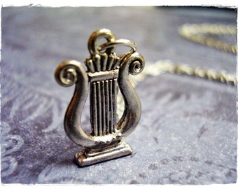 Silver Lyre Necklace - Antique Pewter Lyre Charm on a Delicate Silver Plated Cable Chain or Charm Only