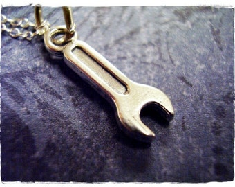 Tiny Wrench Necklace - Sterling Silver Wrench Charm on a Delicate Sterling Silver Cable Chain or Charm Only