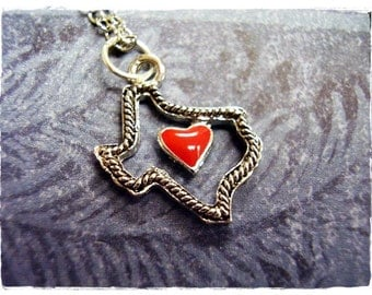 Red Heart Texas Necklace - Red Enameled Silver Pewter Texas Charm on a Delicate Silver Plated Cable Chain or Charm Only