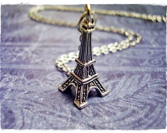 Silver Eiffel Tower Necklace - Silver Pewter Eiffel Tower Charm on a Delicate Silver Plated Cable Chain or Charm Only