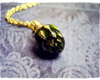 Green Artichoke Necklace - Green Enameled Antique Gold Pewter Artichoke Charm on a Delicate Gold Plated Cable Chain or Charm Only