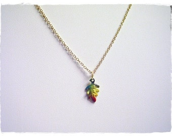 Oak Leaf Necklace - Yellow Enameled Pewter Oak Leaf Charm on a Delicate Gold Plated Cable Chain or Charm Only