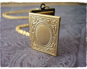 Gold Book Locket Necklace - Antique Brass Book Locket on a Delicate Gold Plated Cable Chain or Locket Only