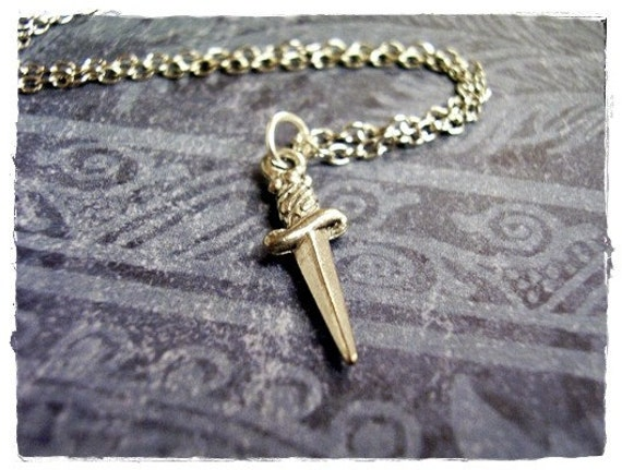 Tiny Silver Dagger Necklace - Antique Pewter Dagger Charm on a Delicate Silver Plated Cable Chain or Charm Only