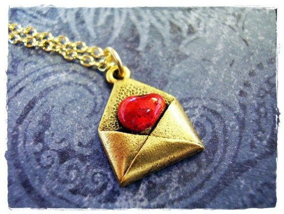 Gold Love Letter Necklace - Red Enameled Antique Gold Pewter Love Letter Charm on a Delicate Gold Plated Cable Chain or Charm Only