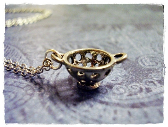 Silver Colander Necklace - Antique Pewter Colander Charm on a Delicate 18 Inch Silver Plated Cable Chain