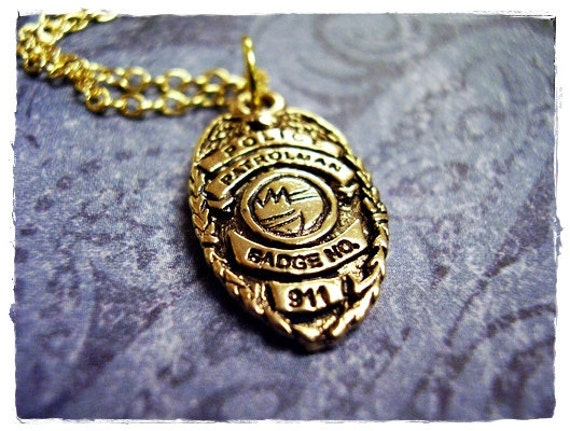 Gold police badge necklace antique gold pewter police badge like this item aloadofball Gallery