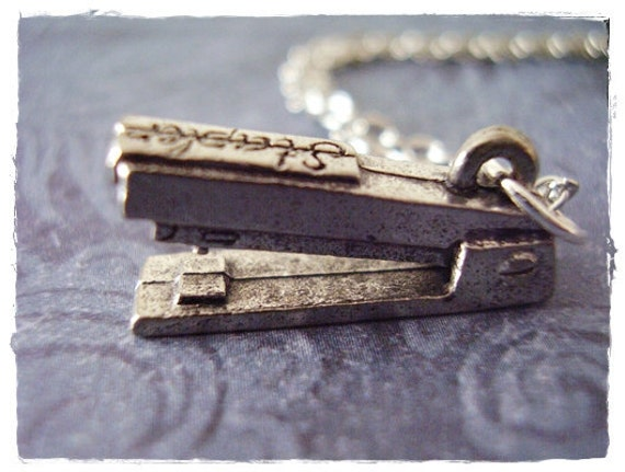 Silver Stapler Necklace - Antique Pewter Stapler Charm on a Delicate Silver Plated Cable Chain or Charm Only