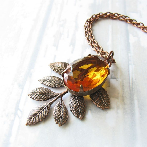 Topaz Yellow Necklace, Vintage Glass Jewel, Antiqued Copper Leaf Charm - Leaf Necklace, Fall Fashion Jewelry, Autumn Necklace