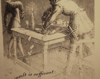 sword fight, card game, Preview of a duel - The insult is sufficient. Draw, and have done. - Frank Pape bookplate