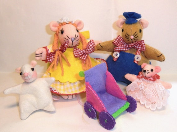 """Instant digital Download-Art Doll Pattern PDF DIY """"Mouse's  family""""  sewing  free shipping"""