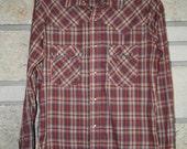 Vintage LEVIS Plaid Shirt • Plaid Levis Western Shirt • Size Large