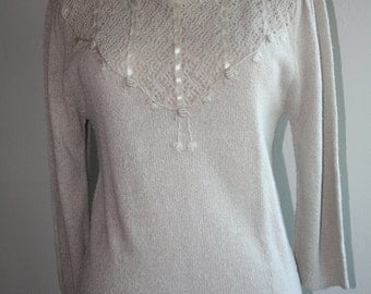 Vintage Ecru Laced Ribbon Tunic