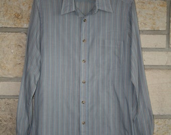 Vintage LEVIS Cotton Striped Shirt • Size Medium