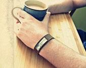Mans Christmas Gifts - Mens Personalized Bracelet - Mans Hand Stamped Leather Bracelet