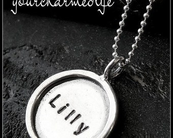 Personalized Artisan Necklace - Personalized Jewelry - Hand Stamped Necklace - Hand Stamped High Quality Thick Charm
