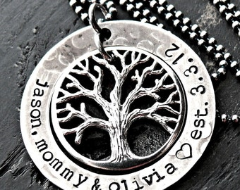 Antiqued Personalized Tree Washer Necklace - Personalized Tree Necklace - Personalized Family Tree Necklace - Sterling Silver Tree Necklace