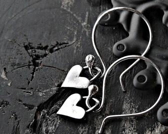 Sterling Silver Heart Earrings - Sterling Silver Heart Dangle Earrings - Heart Earrings - Artisan Heart Earrings