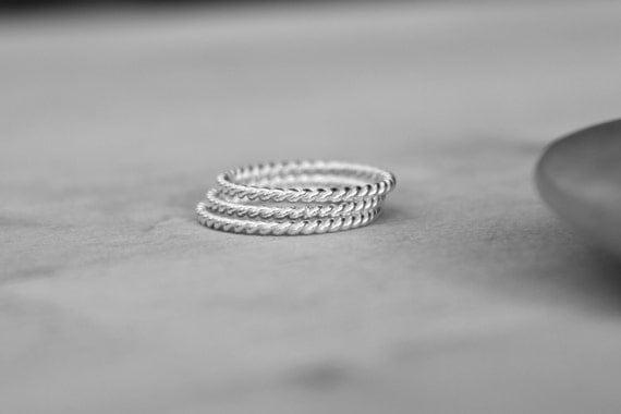 Rope ring, sterling silver twist rings,  Set of 3