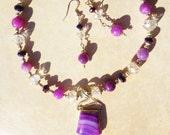 "Striking Purples, Agate, Jade, Swarovski Crystals, Necklace, Earring Set, artisan, womens,16&4"""