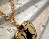 Halloween cat locket vintage altered art with birthstone brass - GossamerScapes
