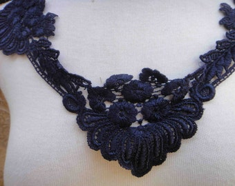 Cute venice applique yoke dark blue color 1  pieces listing 20 inches wide at the neck 1 inches wide the the shoulders