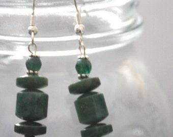 Jade, Quartz and Silver Earrings - African Jade, Green Quartz, Sterling Silver, Dangle Earrings, Green Earrings
