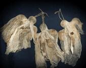Primitive Hanging Halloween Ghost Ornies-Tucks Set Of 3