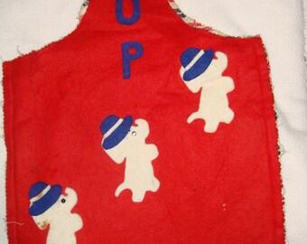 G O P Elephant Felt Campaign Bag Homespun Political Republican Red Vintage