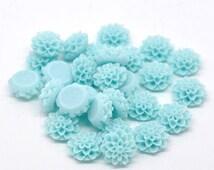 50pcs Sea Foam Aqua Cabochons - Wholesale Flower Cabochons Light Sky Blue - Resin Dahlia Flower Cabochons - Jewelry Supplies Bulk