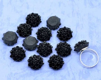 50pcs Black Flower Cabochons - Wholesale Black Cabochons - Goth Black Rose Cabochons Wholesale Resin Flower Cabochons Supply DIY Jewelry C11