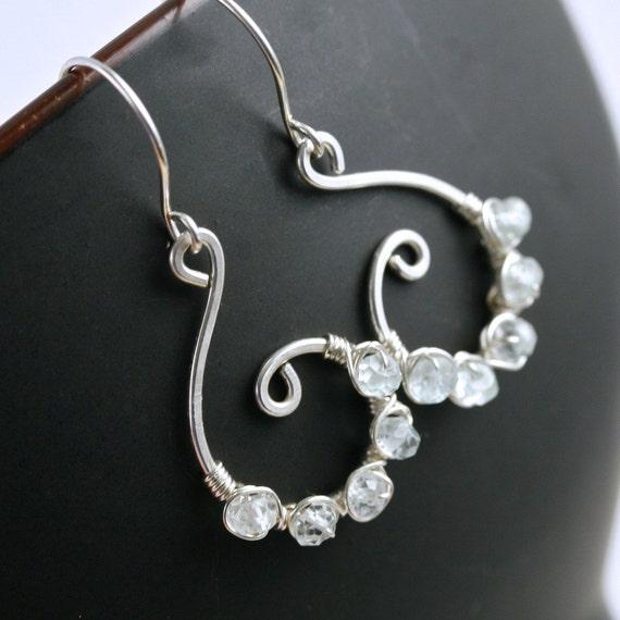 SALE 15% off price as marked (was 35.50, now 30.17) Handmade sterling silver swirl earrings, light blue topaz, beaded earrings
