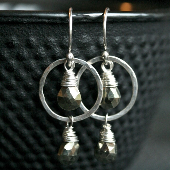 Handmade silver earrings, fools gold pyrite teardrop earrings, wire wrapped silver earrings, circle, Mimi Michele Jewelry