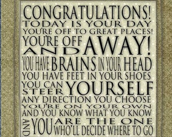 Today is your DAY Quote - Dr. Seuss Print Contemporary Cafe Mount 6x6 Graduation Congratulations
