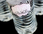 Modern Pink & Black Birthday Party PRINTABLE Drink Labels from Love The Day