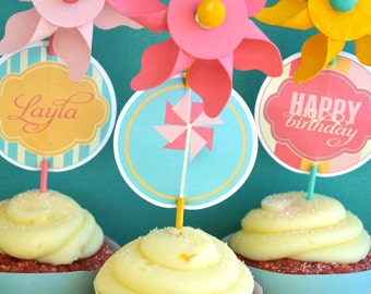 Pinwheel Party PRINTABLE DIY Full Birthday Collection by Love The Day