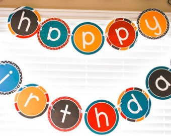 Robot Party PRINTABLE Happy Birthday Banner (INSTANT DOWNLOAD) from Love The Day
